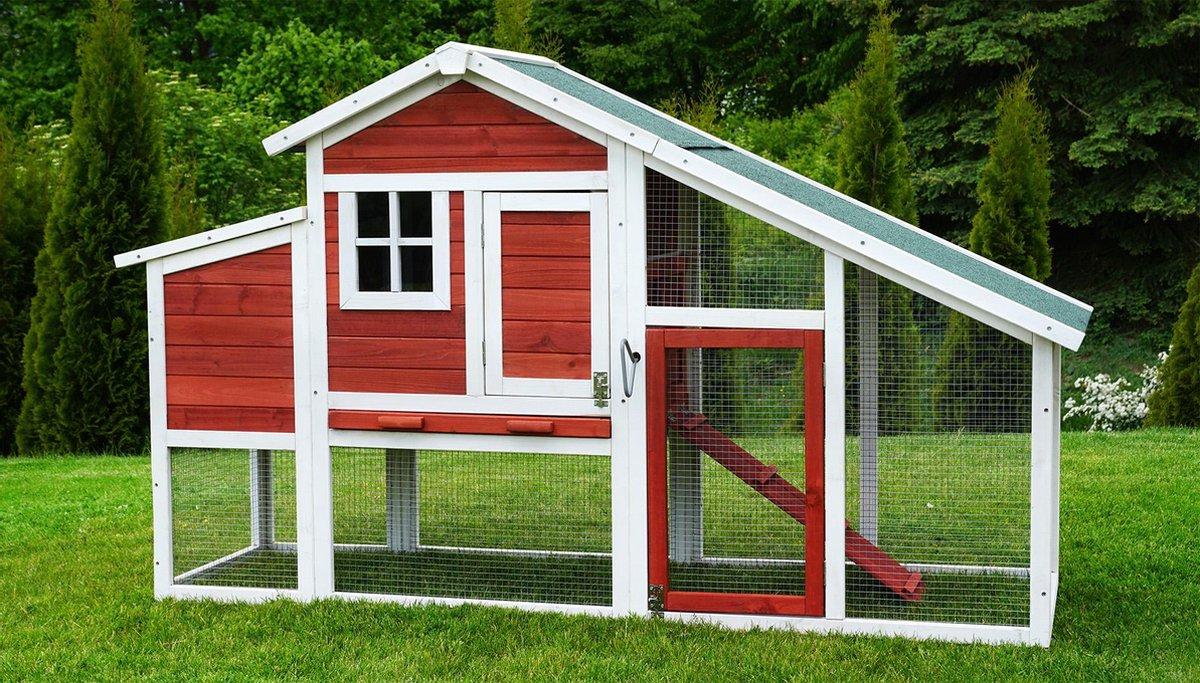 Kippenhok - Pluimveestal Voor 6 kippen - Grenen Hout van Hoge Kwaliteit - 186 x 62 x 114 cm - Weersb