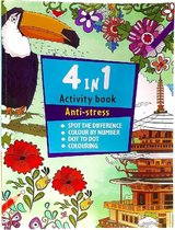 Activiteitenboek voor volwassenen Anti-Stress | Kleurboek voor volwassenen 4 in 1 | Kleuren op nummer |Tekenen | Stiften | Puzzelboek | Dot to dot | Dieren | Bloemen