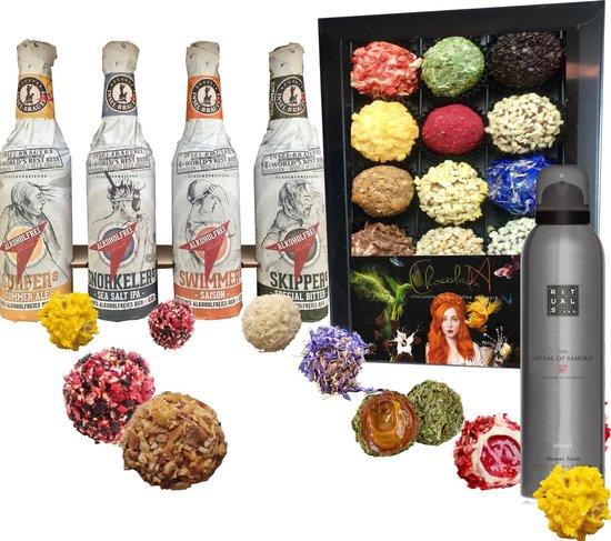 ChocolaDNA chocolade cadeaupakket - 16 stuks - Rituals - 3 flessen Insel bier...