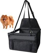 Opvouwbare Autostoel Hond - Hondenmand Auto - Hondenstoel Auto - Automand Hond - Inclusief Veiligheidsgordel en Opbergvak - Luxe Design - Zwart