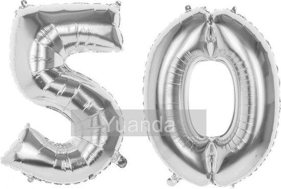 50 Jaar Folie Ballonnen Zilver - Happy Birthday - Foil Balloon - Versiering - Verjaardag - Man / Vrouw - Feest - Inclusief Opblaas Stokje & Clip - XL - 115 cm