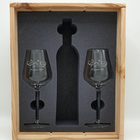Wijnkist + 2 gegraveerde wijnglazen als geschenk voor bruiloft, huwelijksjubileum
