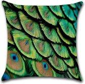 Kussenhoes Peacock - Groen - Kussenhoes - 45x45 cm - Sierkussen - Polyester