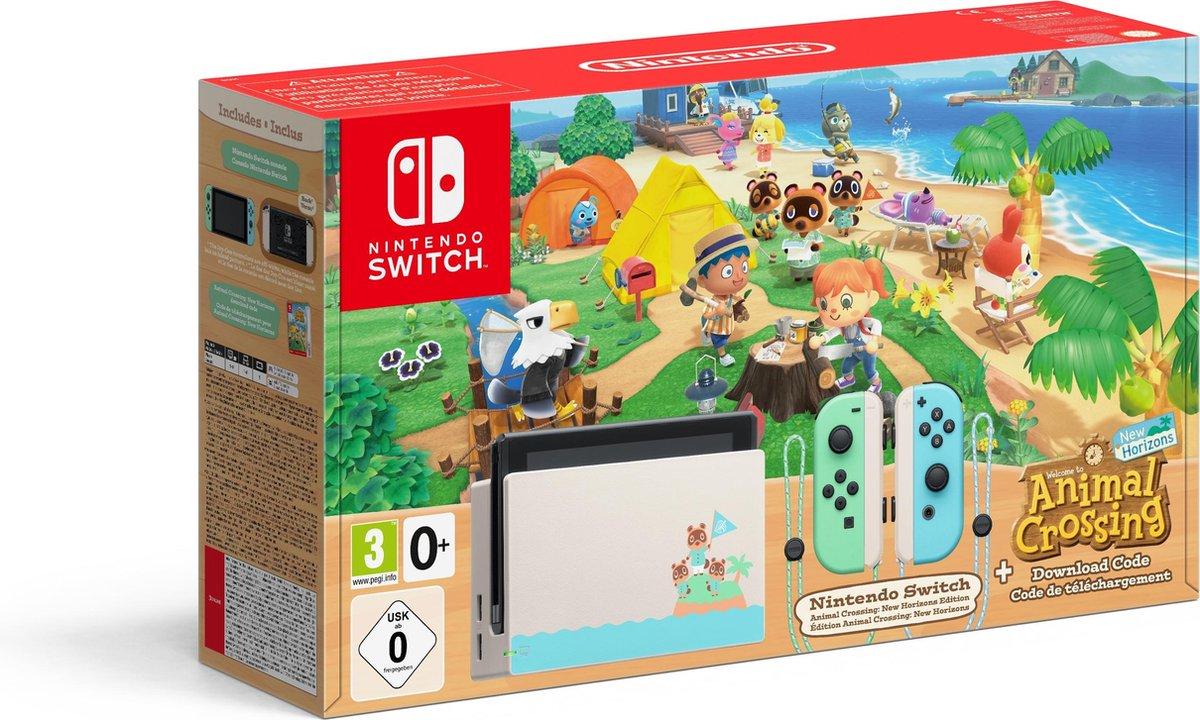 Nintendo Switch Console - Groen / Blauw - Nieuw model - Incl. Animal Crossing: New Horizons