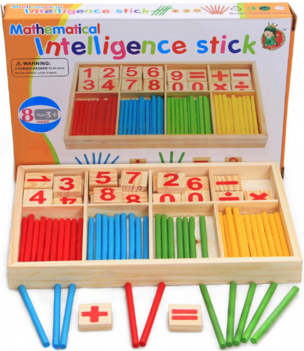rekendoosje - leren rekenen - educatief speelgoed - rekenspelletjes - rekenstokjes - montessori speelgoed - Blijderij