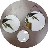 Hangspiegel THERESE Met Metalen Ketting - Zwart - Metaal / Glas - Ca ⌀ 20 / 30 / 35 cm - Rond - Set van 3 spiegels