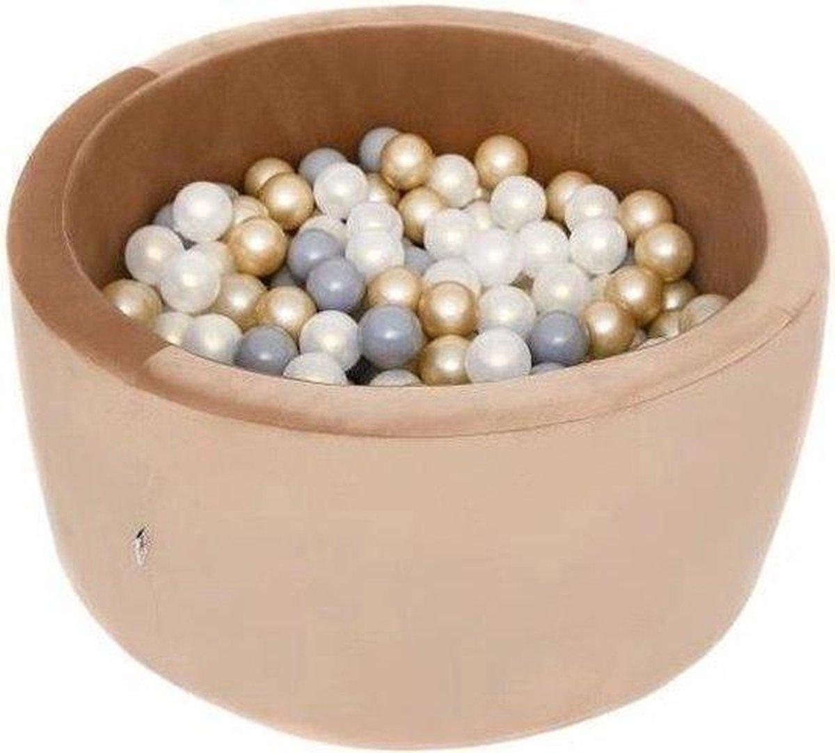 Ronde Ballenbad 90x40 Velvet Goud - Ballenbak met 300 ballen - Goud, Wit, Grijs - Ballenbad baby - Ballenbak met ballen - Ballenbad Rond - Ballenbad
