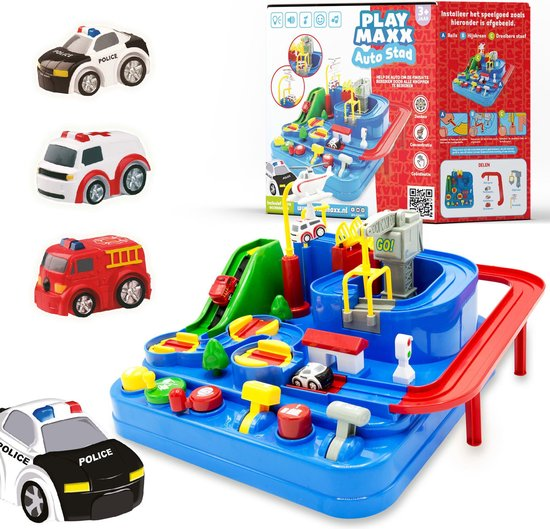 Bol Com Autostad Auto Speelgoed Met Accessoires Helikopter Politie Ambulance