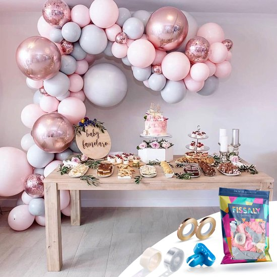 Fissaly® Pastel Ballonnenboog Macaron Roze, Grijs & Rose Goud – Ballonboog Feest Decoratie Versiering – Verjaardag - Helium, Latex, Folie & Papieren Confetti Ballonnen Boog - Geslaagd & Afgestudeerd