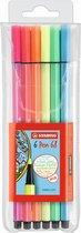 STABILO Pen 68 - Premium Viltstift - Etui Met 6 Neon Kleuren