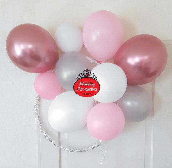 50 stuks Baby Girl ballonnen pakket - Nedville - Luxe Ballonnen Chrome roze, pastel roze, metallic zilver en metallic wit - Helium Ballonnenset, Geboorte, Feest, Verjaardag, Party, Wedding, Valentijn. Incl. ballonsluiters met wit lint