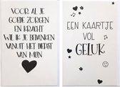 Bedankt voor de Goede Zorg + Een kaartje vol Geluk - 2 Wenskaarten  – 12 x 17 cm