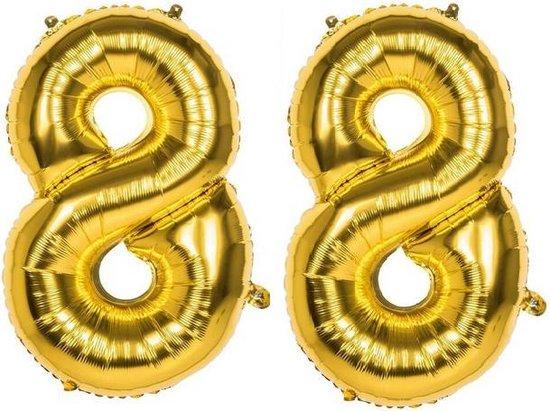 88 Jaar Folie Ballonnen Goud - Happy Birthday - Foil Balloon - Versiering - Verjaardag - Man / Vrouw - Feest - Inclusief Opblaas Stokje & Clip - XXL - 115 cm