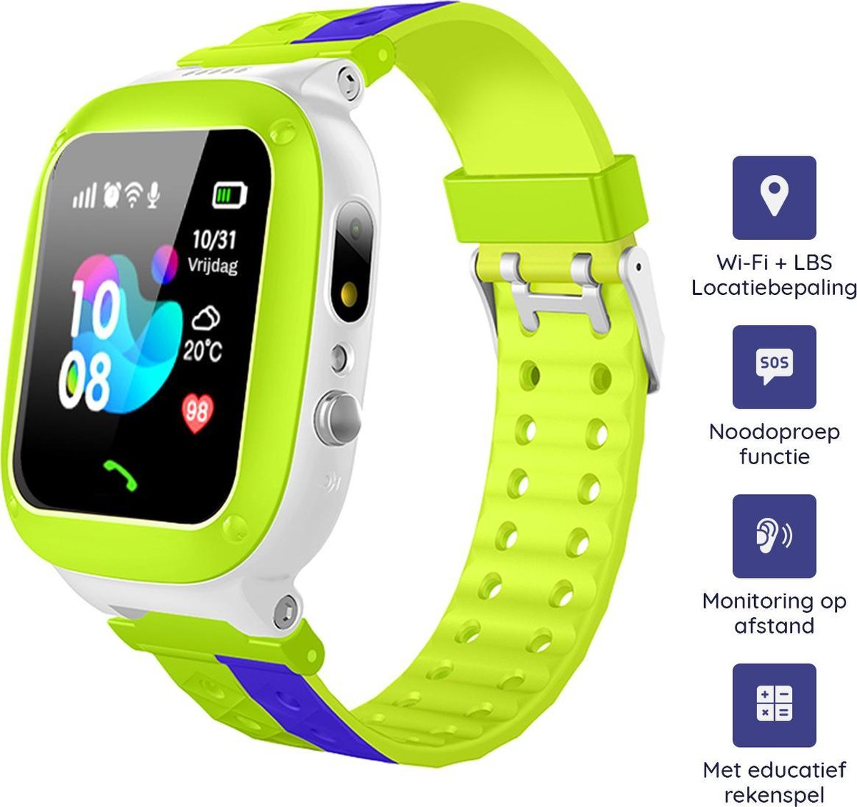 M-Iconic Smartwatch kinderen - Speelgoedhorloge - Kinder smartwatch - GPS Horloge Kind - Smartwatch kids - Kinderlaptop - Leercomputer - Bellen & video - Rekenspel - Nederlands - Groen/paars