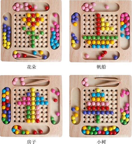 Afbeelding van het spel 2-in-1 Montessori Houten Oefen met Eten & Kleur Leren -  Kleuren Puzzel - Montessori, pedagogisch speelgoed, Pasen, cadeau, spel met hengel, schaakspel voor motor skill kleuterschool sensorisch vanaf 3 jaar