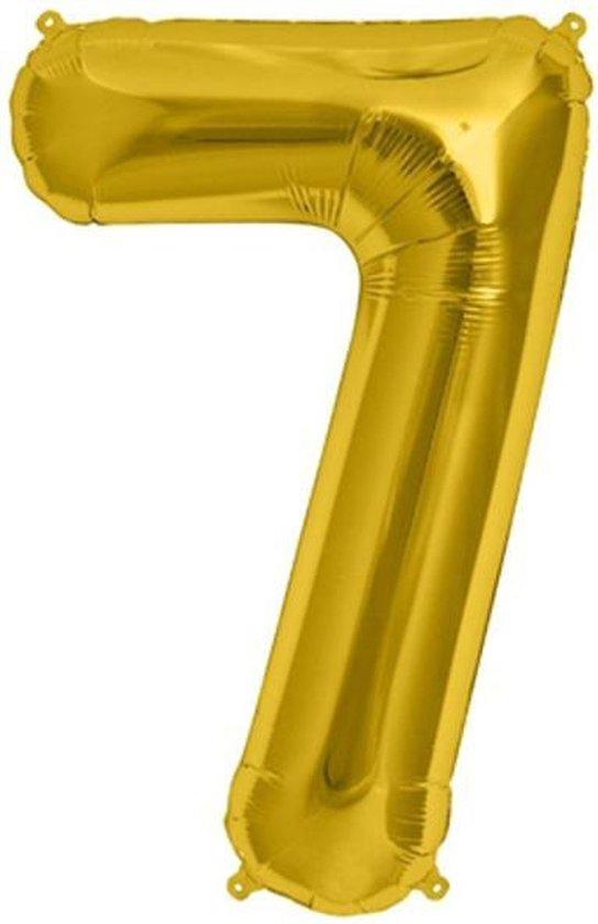 Helium ballon - Cijfer ballon - Nummer 7 - 7 jaar - Verjaardag - Goud - Gouden ballon -