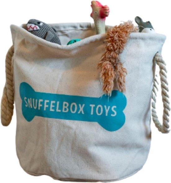 Canvas speelgoedmand hond - Turquoise
