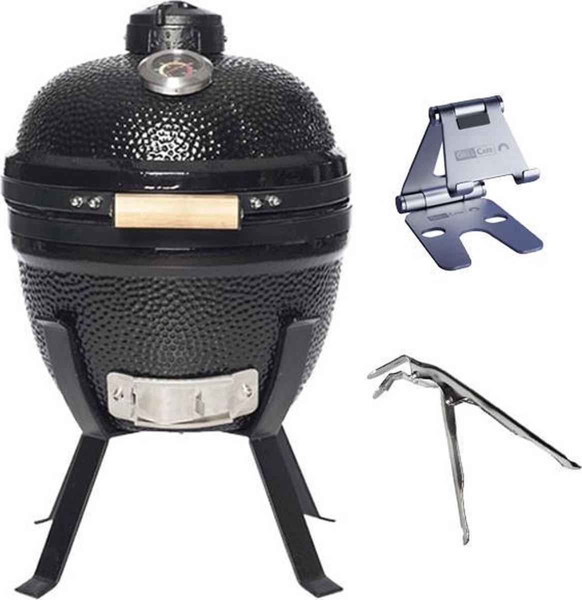 "Grill Care Kamado Grill - 14"" - Grillrooster Ø 32 cm - Met Handgreep - Zwart"