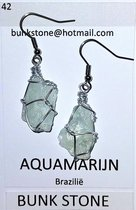 Aquamarijn - 100% natuurlijke Edelsteen - Oorbellen -Bunkstone-Gratis verzending
