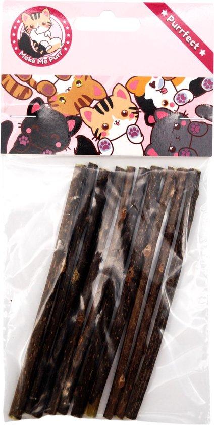 make me purr matatabi sticks (10 stuks) - silver vine kattenkruid stokjes - catnip effect kauwstokjes - kattensnack kattensnoepjes