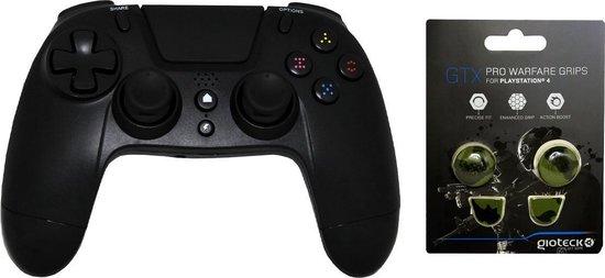 Gioteck PS4 Bluetooth Controller 3.5mm Jack Plug Zwart Bundel met thumbgrips (Groen Camouflage) joystick bescherming