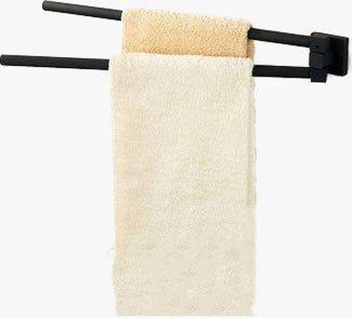 Handdoekenrek Boaz | Dubbel rek | Mat zwart | Roestvrij staal | Hangend Vrijstaand | Badkamer | Bathroom | Towel rack | Badkamer rek | Zwarte accessoires | Badkamer accessoires | Handdoekstang | Handdoekrek | Handdoekhouder| Towel rack black