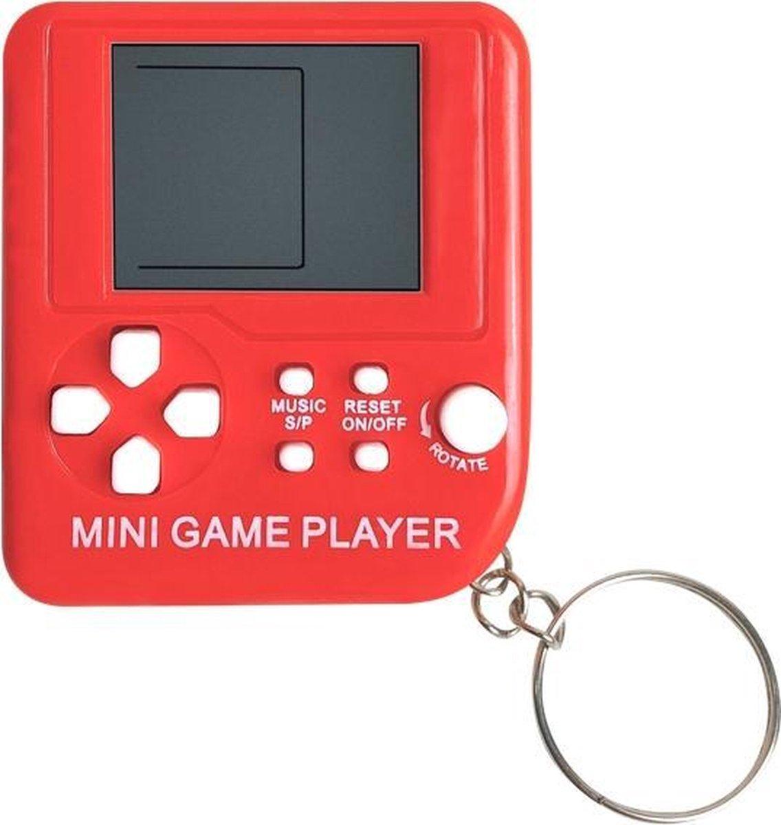 Mini Klassieke Tetris Spel Retro Spelcomputer Sleutelhanger LCD Spelletje - Rood wit