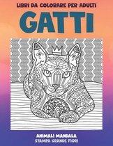 Libri da colorare per adulti - Stampa grande fiori - Animali Mandala - Gatti