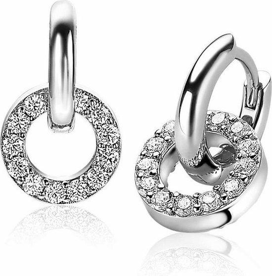 ZINZI oorringen inclusief oorbedels - Z194-CH2155 - Zilver - 12x2 mm - Dames