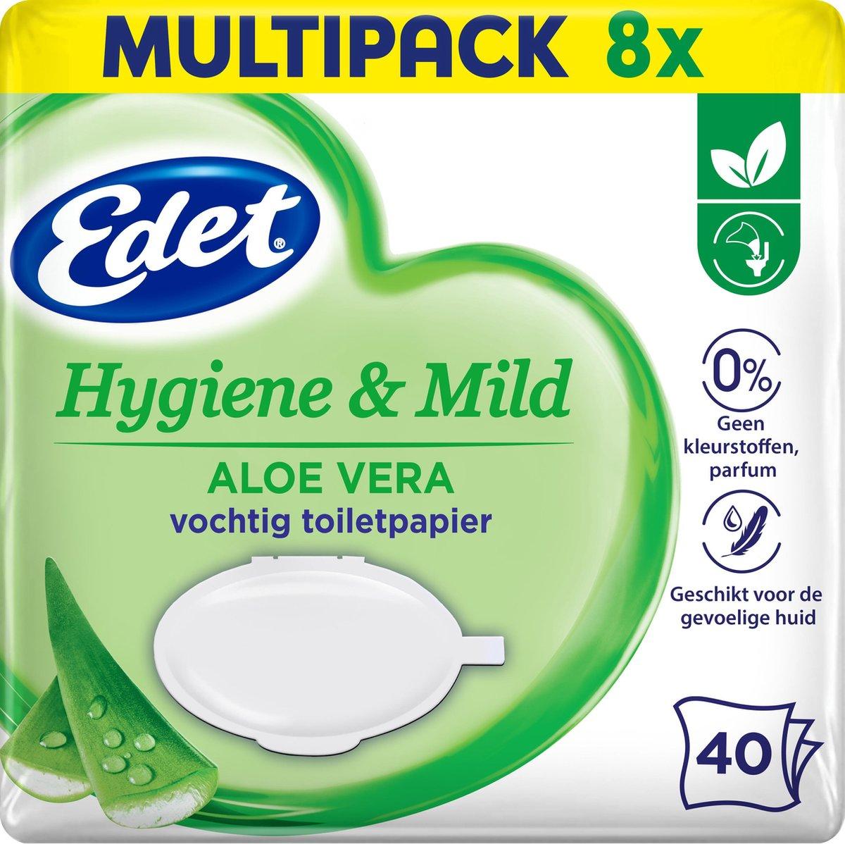 Edet Aloe Vera Vochtig Toiletpapier - 8 x 40 stuks - halfjaar voorraad