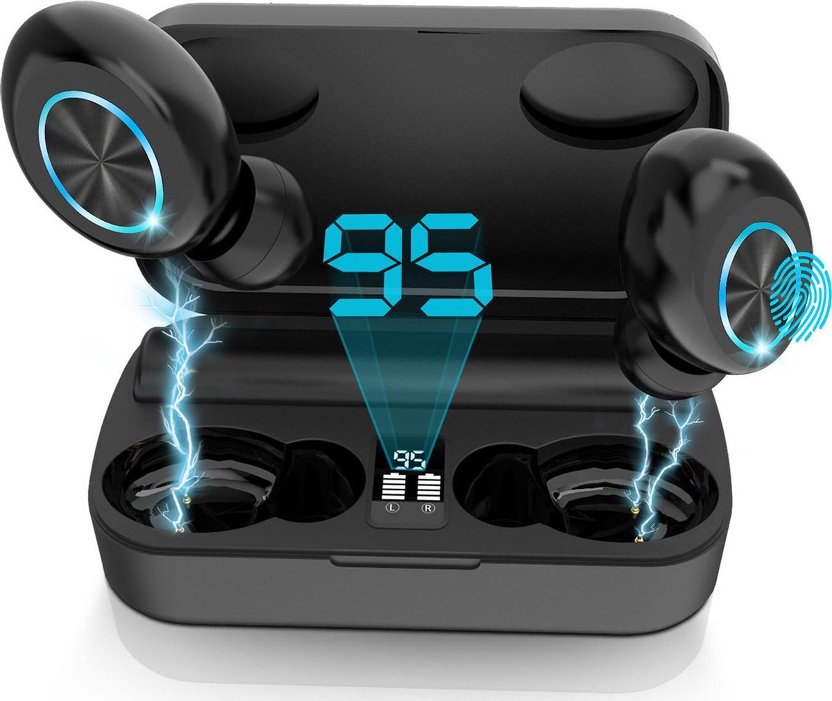 VIP EarBass Draadloze Oordopjes – In-Ear Bluetooth 5.0 Oortjes – Sport Earbuds – IPX5 Waterproof – Met Powerbank – Compact Design voor Apple iPhone Samsung Android Huawei