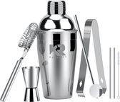 Robuuste Kwaliteit Cocktailshaker Set RVS + 2 gratis RVS rietjes - Keizer RVS - 5 Delige Set - RVS Bar Shaker Set