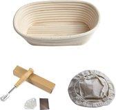 ML Kitchen Rijsmandje Ovaal - Inclusief Deegmesje en Deegkleed - Rijsmand Banneton - Zuurdesem - 25x14 cm