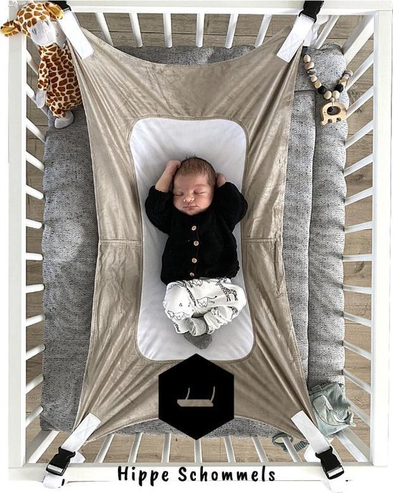 Product: Baby Hangmat Taupe - Box Hangmat - Premium Fleece & Mesh - Wieg - Perfect als Cadeau!, van het merk Hippe Schommels