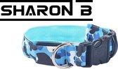 Blauwe leger print LED halsband maat M voor je hond | Verlichte halsband voor honden | Verkrijgbaar in S t/m XL en in meerdere kleuren | LED hals band | LED hondenriem | LED hondentuigje | LED Hondenriem | army halsband LED | camouflage halsband LED