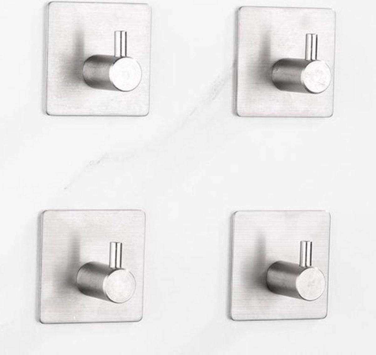 Jumalu - Handdoekhaak - Handdoekhaakjes zelfklevend - RVS handdoekhaakjes - 4 stuks - Zilver - Zelfklevend - Handdoek haakjes