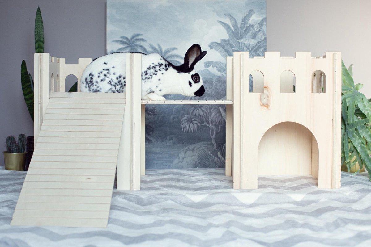 Konijnenhok | Speelhuisje | Konijn | Kat | Kasteel XL | 45cm x 35cm x 90cm