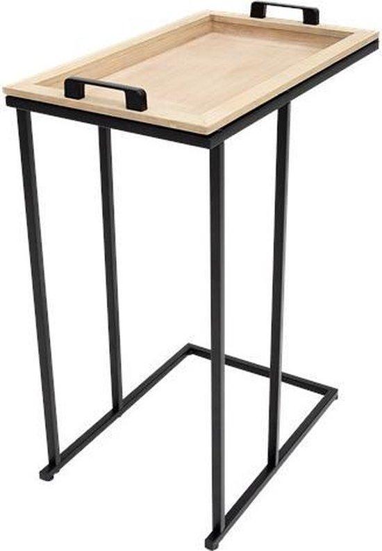 Luxe Bijzettafel - Bijzettafel met Dienblad- Moderne Bijzettafel - Metaal - Zwart - Industrieel ontwerp - 40 x 28 x 59.7 cm - Bijzet tafel - Industrie - Luxe moderne bijzettafel - Style modern industrie - Afneembaar Dienblad