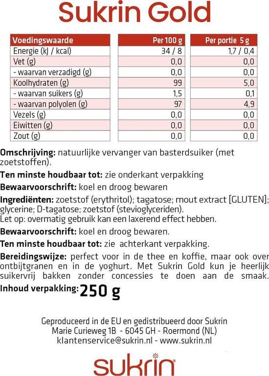 Sukrin Gold (250g) - Bevat Erythritol - 100% natuurlijk alternatief voor bruine suiker - Smaakt hetzelfde