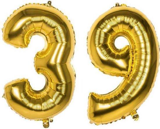 39 Jaar Folie Ballonnen Goud - Happy Birthday - Foil Balloon - Versiering - Verjaardag - Man / Vrouw - Feest - Inclusief Opblaas Stokje & Clip - XXL - 115 cm