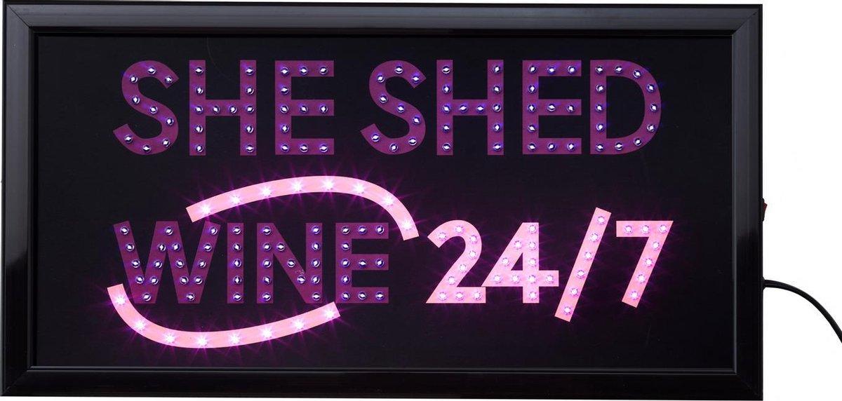 Led bord - She-Shed - led sign - Led bord womancave- Light box - Led verlichting - Bar accessoires - Bar/cafe - Led lampjes - Roze - Paars - Led borden - Cave & Garden