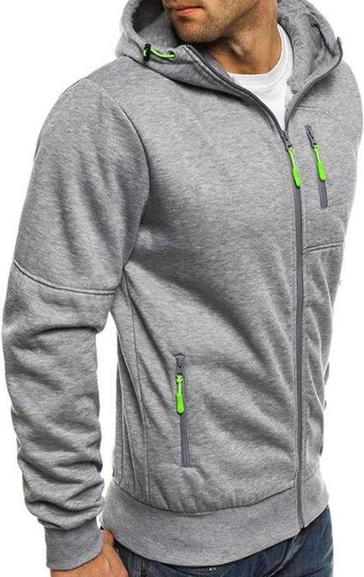 Grijze Hoodie heren met capuchon - Met rits – Light Sport Sweater - Maat L