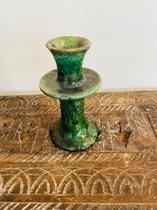 Tamegroute kandelaar | 17 cm groen | Marokkaanse Aardewerk Groen