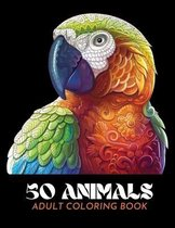50 Animals Adult Coloring Book