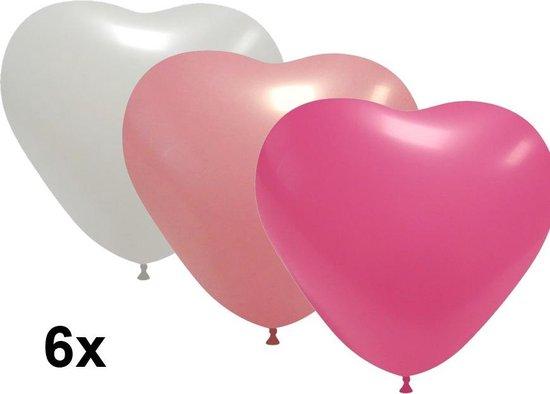 Hartjes ballonnen wit-roze-pink, 6 stuks, 28 cm