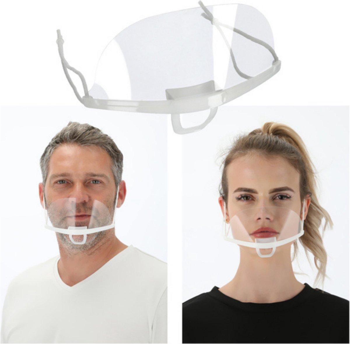 Face Shield - Gezichtscherm - Transparant Mondkapje - Doorzichtige Mondmaskers - Plastic Vizier - Pe