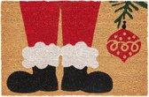 Amo La Casa Deurmat Kerstman 40 X 60 Cm Kokosvezel Bruin/rood