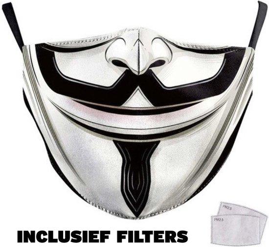 Anonymous Mondkapje wasbaar en herbruikbaar - 100% katoen - katoenen mondkapje - niet medisch mondmasker - 1stuk - Met Print