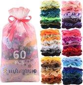 Kraagjeskopen.nl® 60 stuks Scrunchies Velvet - Mega Pack Haaraccessoire Haarelastiek Haarwokkel - 60 Kleuren Scrunchie Set - Verjaardagscadeau - VSCO Girls