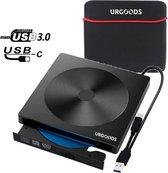 URGOODS® Externe CD/DVD Speler en Brander voor Laptop - USB 3.0 of USB C - Plug & Play - Windows, Linux & Mac + Beschermhoes
